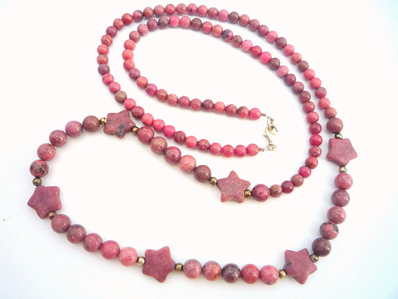 Long Rhodonite semiprecious stones, neckace.