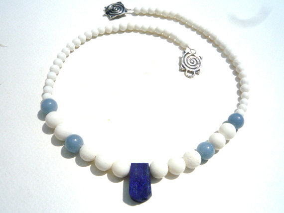White Coral, Angelite, Lapis Lazuli necklace.